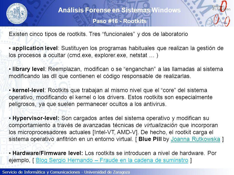 Servicio de Informática y Comunicaciones - Universidad de Zaragoza Existen cinco tipos de rootkits. Tres funcionales y dos de laboratorio application