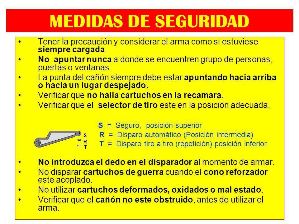 Tener la precaución y considerar el arma como si estuviese siempre cargada. No apuntar nunca a donde se encuentren grupo de personas, puertas o ventan
