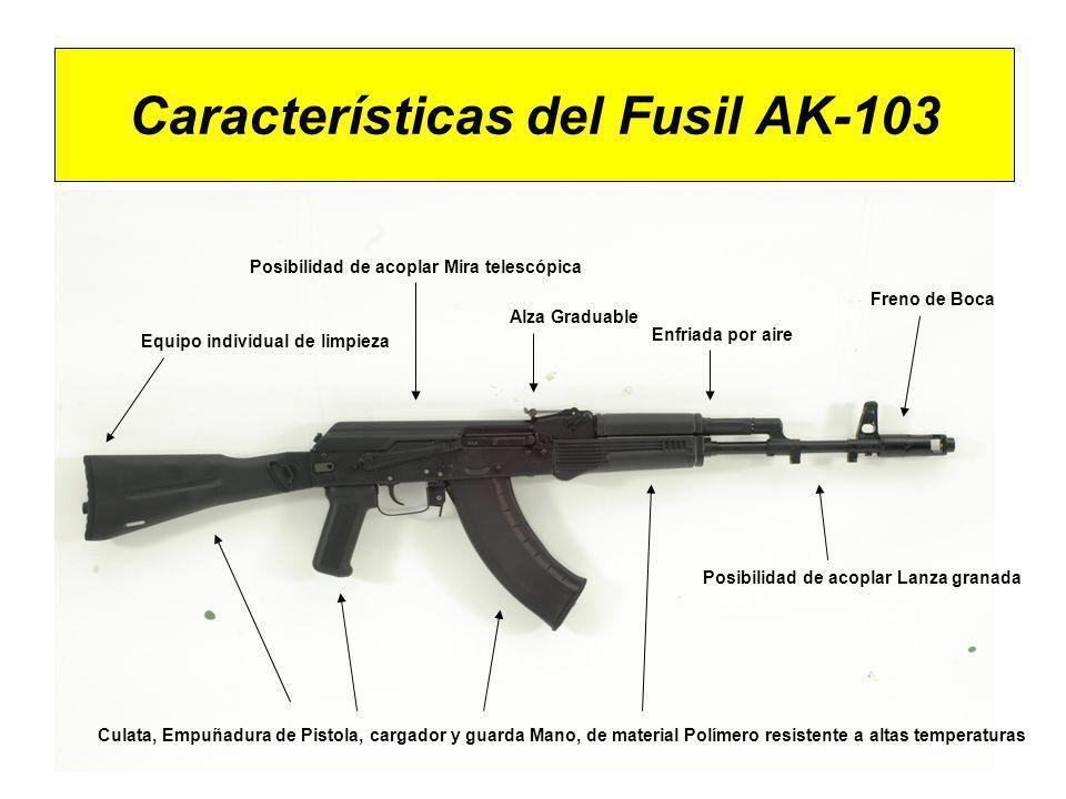 Características del Fusil AK-103 Culata, Empuñadura de Pistola, cargador y guarda Mano, de material Polímero resistente a altas temperaturas Alza Grad