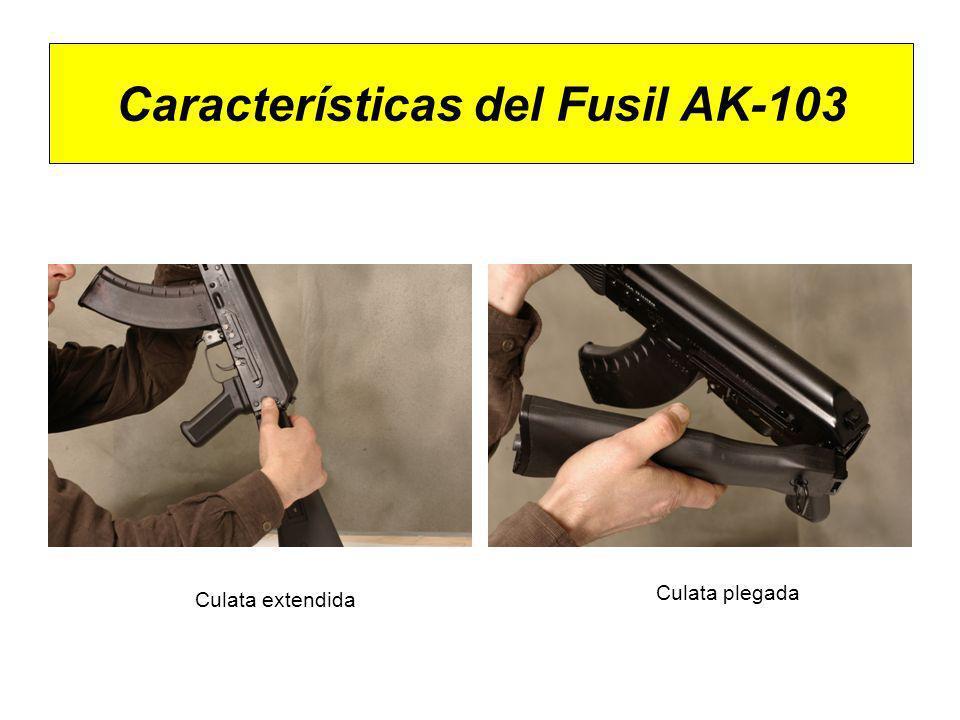 Características del Fusil AK-103 Clavija del selector de tiro en posición S - Seguro Clavija del selector de tiro en posición R - Rafaga Clavija del selector de tiro en posición T – Tiro a tiro