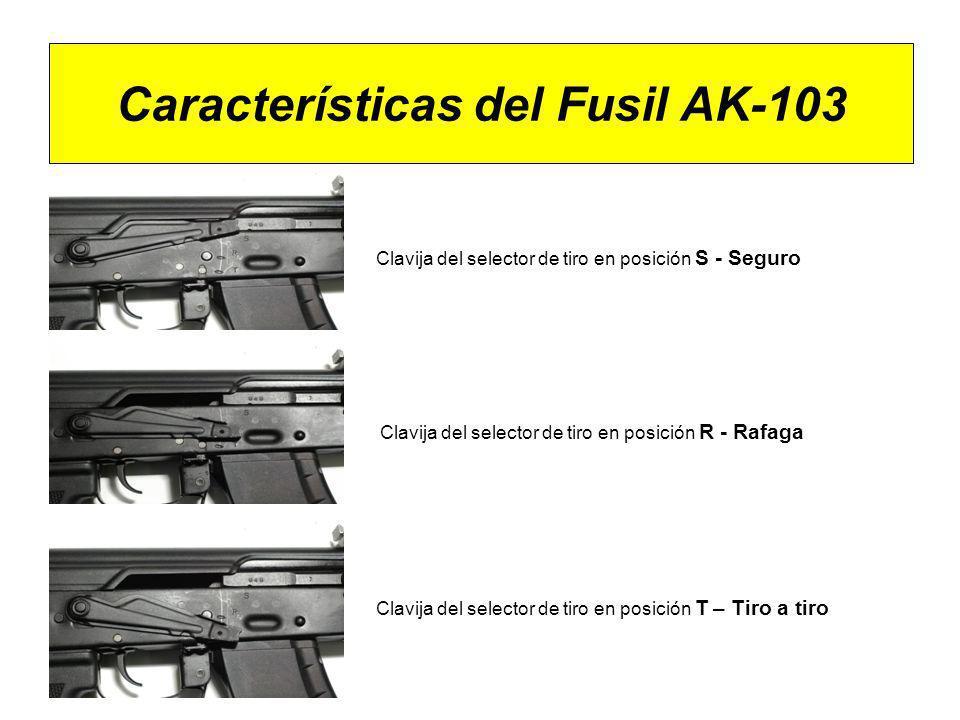 Características del Fusil AK-103 Clavija del selector de tiro en posición S - Seguro Clavija del selector de tiro en posición R - Rafaga Clavija del s