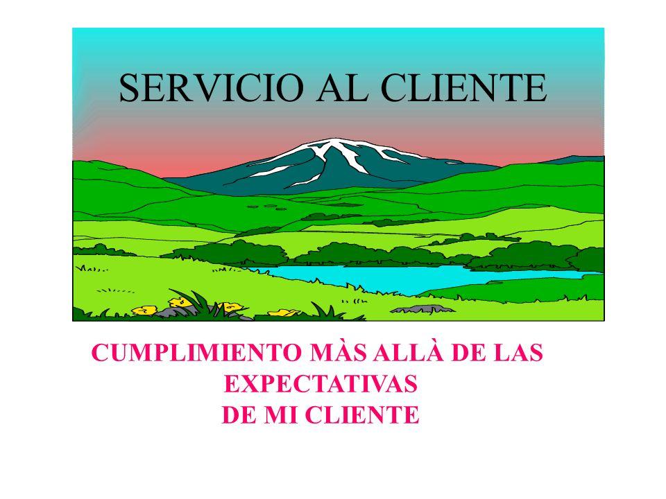 SERVICIO AL CLIENTE CUMPLIMIENTO MÀS ALLÀ DE LAS EXPECTATIVAS DE MI CLIENTE