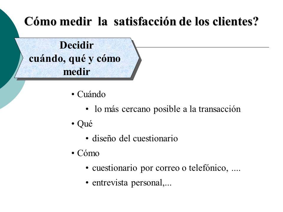 Cómo medir la satisfacción de los clientes? Decidir cuándo, qué y cómo medir Decidir cuándo, qué y cómo medir Cuándo lo más cercano posible a la trans