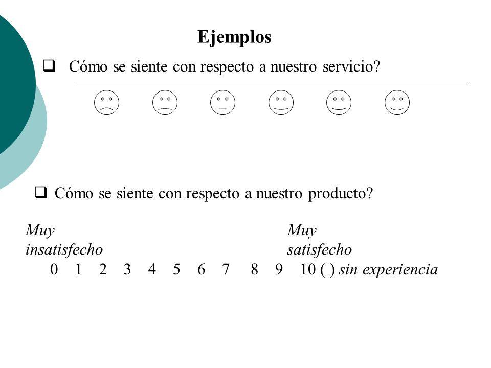 Ejemplos Cómo se siente con respecto a nuestro servicio? Cómo se siente con respecto a nuestro producto? Muy insatisfecho satisfecho 0 1 2 3 4 5 6 7 8
