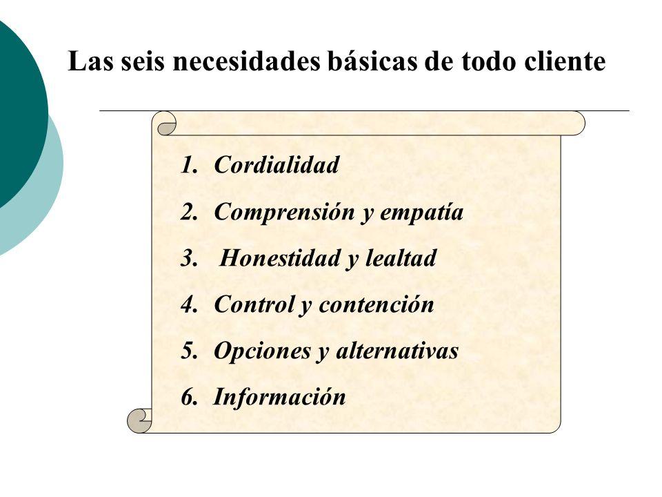 Las seis necesidades básicas de todo cliente 1.Cordialidad 2.Comprensión y empatía 3. Honestidad y lealtad 4.Control y contención 5.Opciones y alterna