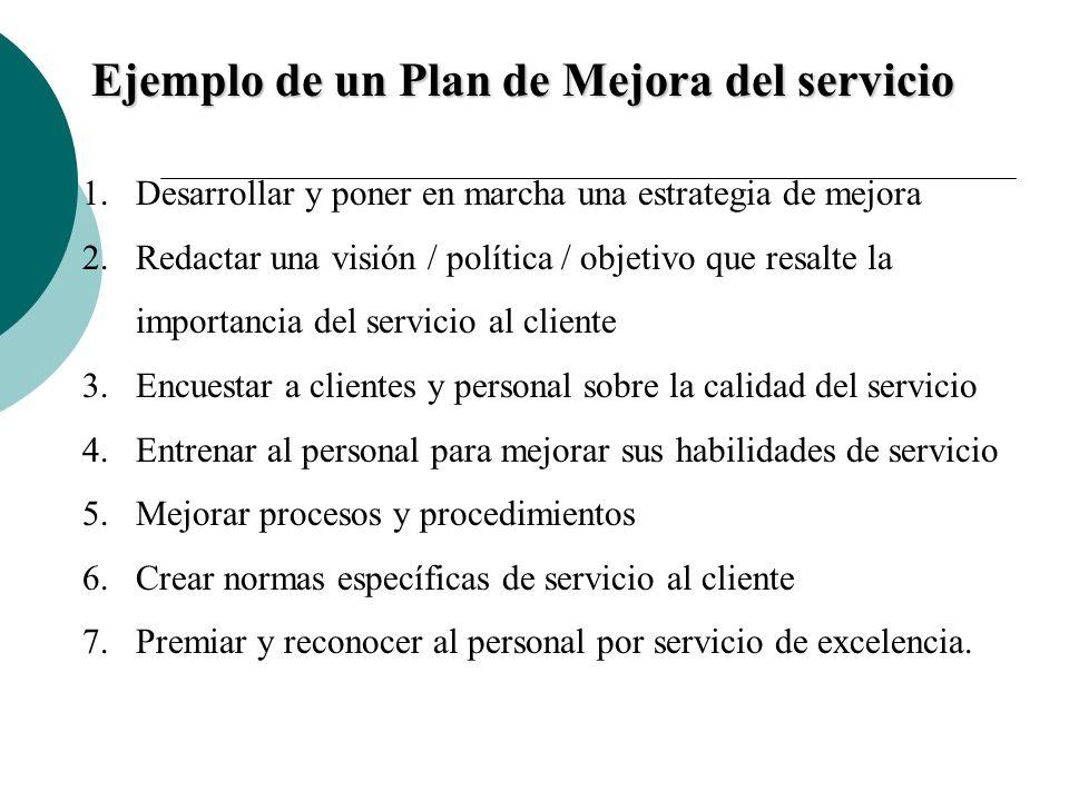 Ejemplo de un Plan de Mejora del servicio 1.Desarrollar y poner en marcha una estrategia de mejora 2.Redactar una visión / política / objetivo que res