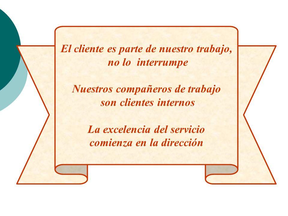 El cliente es parte de nuestro trabajo, no lo interrumpe Nuestros compañeros de trabajo son clientes internos La excelencia del servicio comienza en l