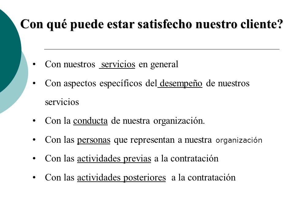Con qué puede estar satisfecho nuestro cliente? Con nuestros servicios en general Con aspectos específicos del desempeño de nuestros servicios Con la