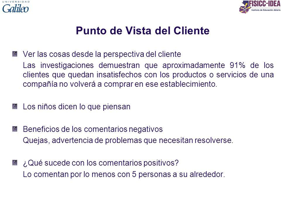 Punto de Vista del Cliente Ver las cosas desde la perspectiva del cliente Las investigaciones demuestran que aproximadamente 91% de los clientes que q