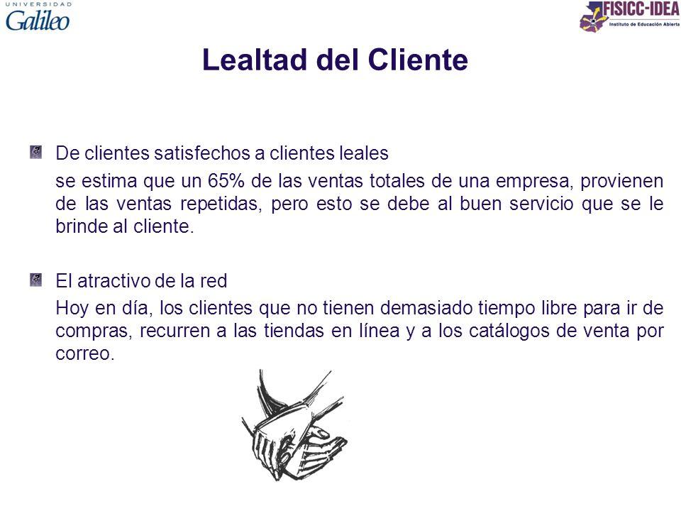 Lealtad del Cliente De clientes satisfechos a clientes leales se estima que un 65% de las ventas totales de una empresa, provienen de las ventas repet