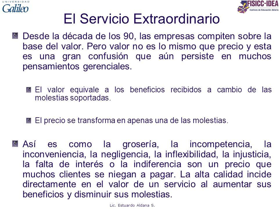 El Servicio Extraordinario Desde la década de los 90, las empresas compiten sobre la base del valor. Pero valor no es lo mismo que precio y esta es un