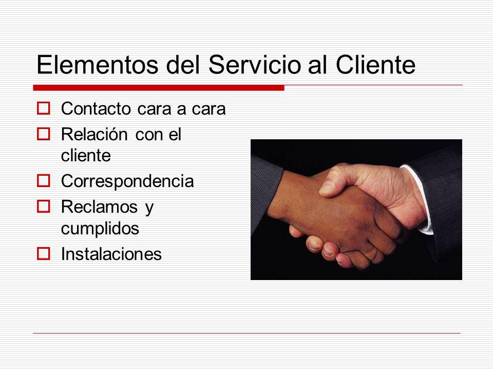 Elementos del Servicio al Cliente Contacto cara a cara Relación con el cliente Correspondencia Reclamos y cumplidos Instalaciones
