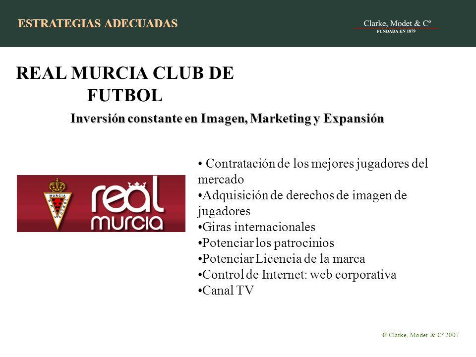 ESTRATEGIAS CON ÉXITO Inversión constante en Imagen, Marketing y Expansión © Clarke, Modet & Cº 2007 REAL MURCIA CLUB DE FUTBOL Contratación de los me