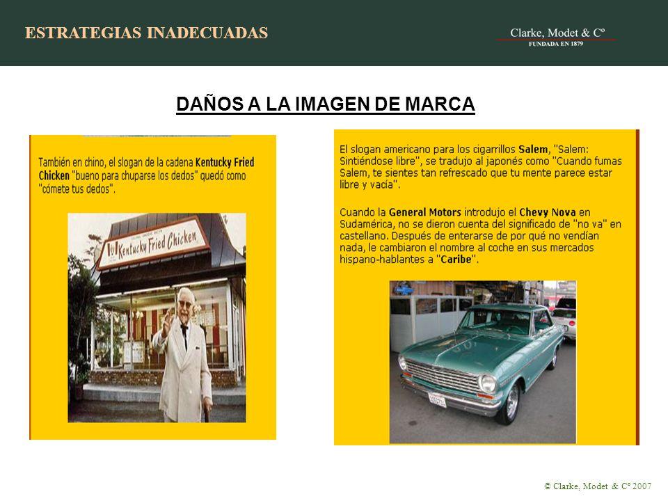 DAÑOS A LA IMAGEN DE MARCA ESTRATEGIAS INADECUADAS © Clarke, Modet & Cº 2007 ESTRATEGIAS INADECUADAS