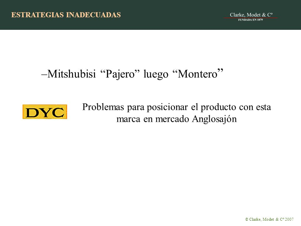 –Mitshubisi Pajero luego Montero Problemas para posicionar el producto con esta marca en mercado Anglosajón © Clarke, Modet & Cº 2007 ESTRATEGIAS INADECUADAS