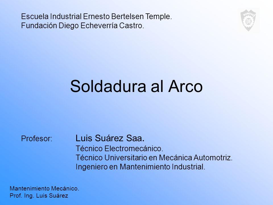 Soldadura al Arco Profesor: Luis Suárez Saa. Técnico Electromecánico. Técnico Universitario en Mecánica Automotriz. Ingeniero en Mantenimiento Industr