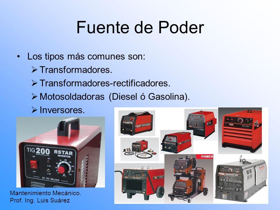 Fuente de Poder Mantenimiento Mecánico. Prof. Ing. Luis Suárez Los tipos más comunes son: Transformadores. Transformadores-rectificadores. Motosoldado