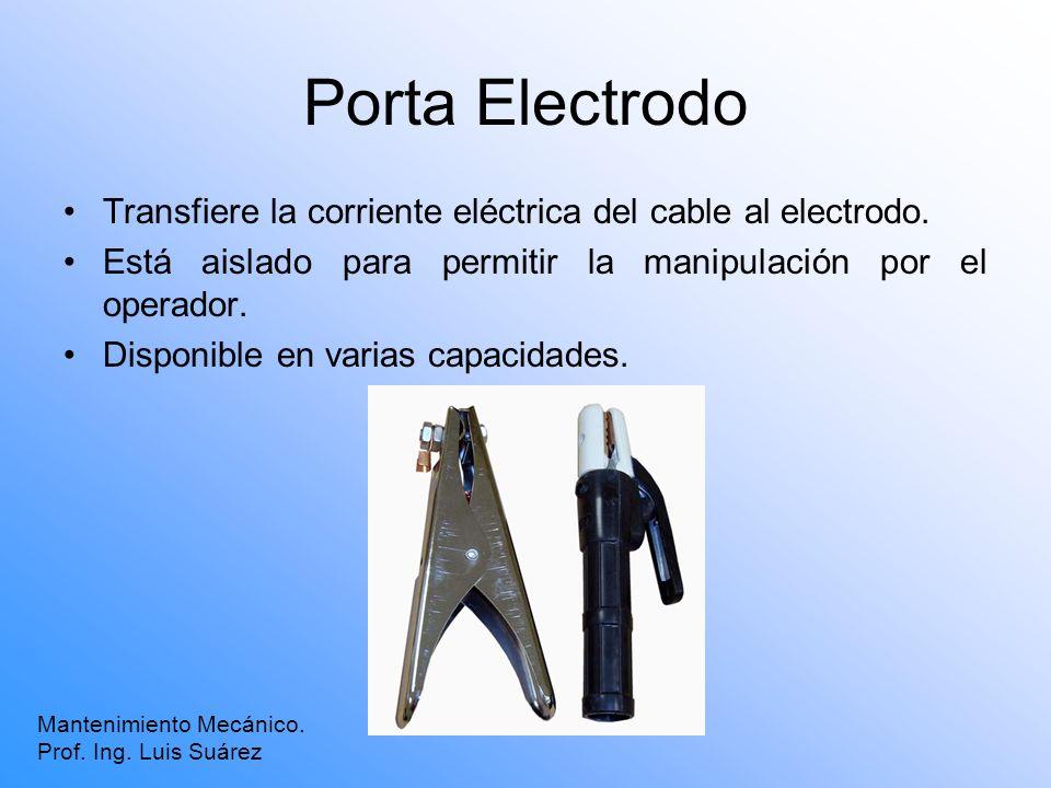 Porta Electrodo Mantenimiento Mecánico. Prof. Ing. Luis Suárez Transfiere la corriente eléctrica del cable al electrodo. Está aislado para permitir la