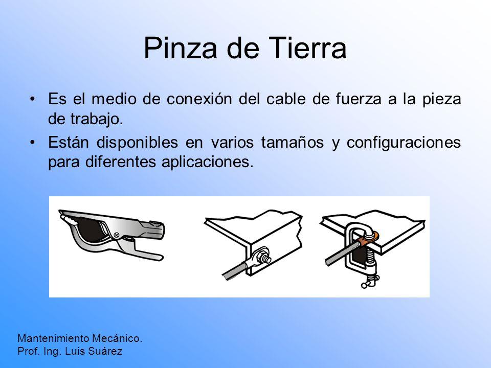 Pinza de Tierra Mantenimiento Mecánico. Prof. Ing. Luis Suárez Es el medio de conexión del cable de fuerza a la pieza de trabajo. Están disponibles en