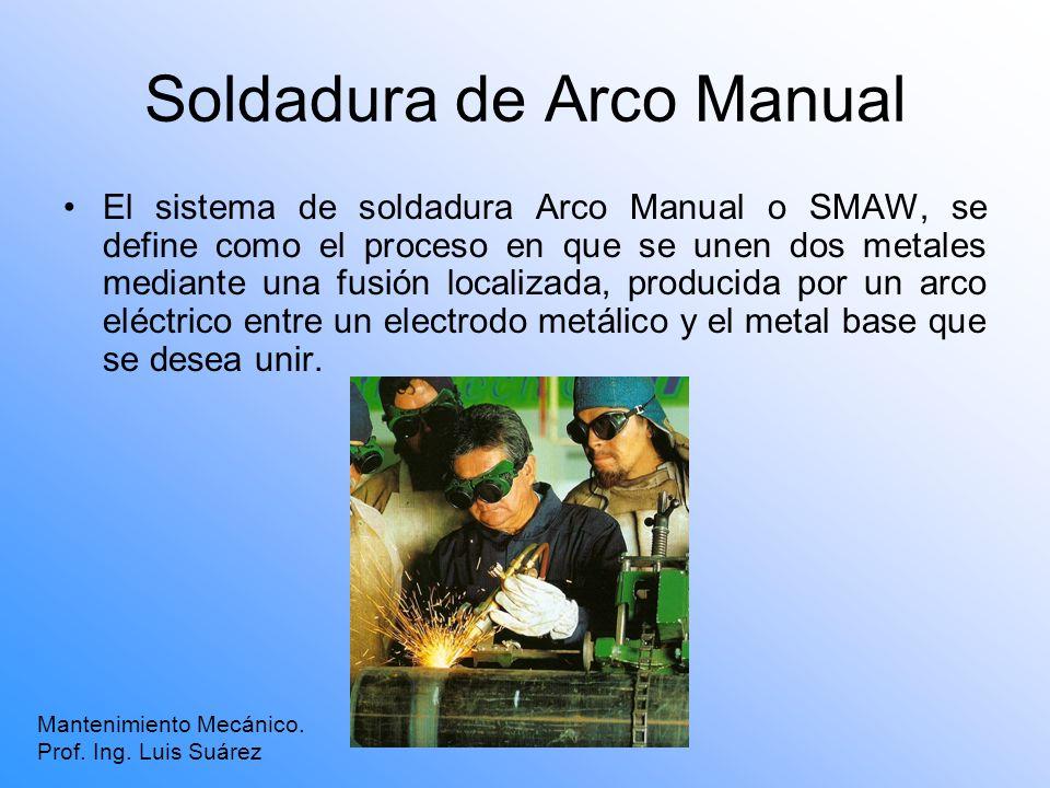 Soldadura de Arco Manual El sistema de soldadura Arco Manual o SMAW, se define como el proceso en que se unen dos metales mediante una fusión localiza