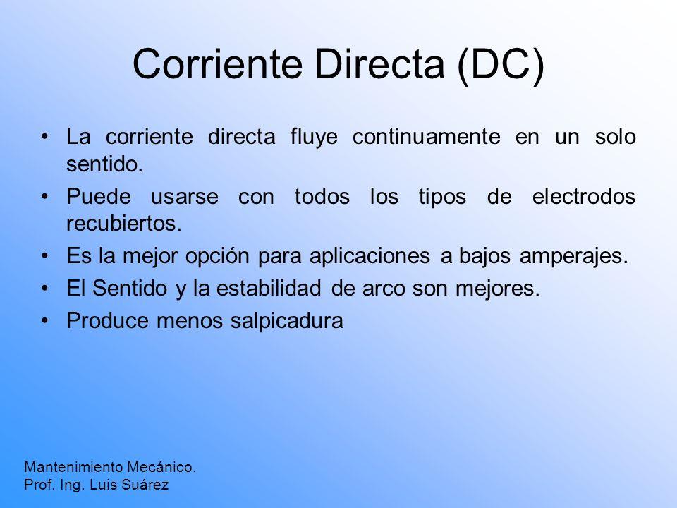 Corriente Directa (DC) La corriente directa fluye continuamente en un solo sentido. Puede usarse con todos los tipos de electrodos recubiertos. Es la