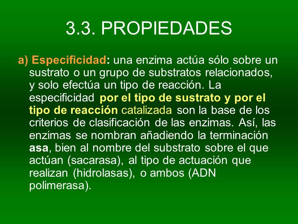 3.3. PROPIEDADES a) Especificidad: una enzima actúa sólo sobre un sustrato o un grupo de substratos relacionados, y solo efectúa un tipo de reacción.