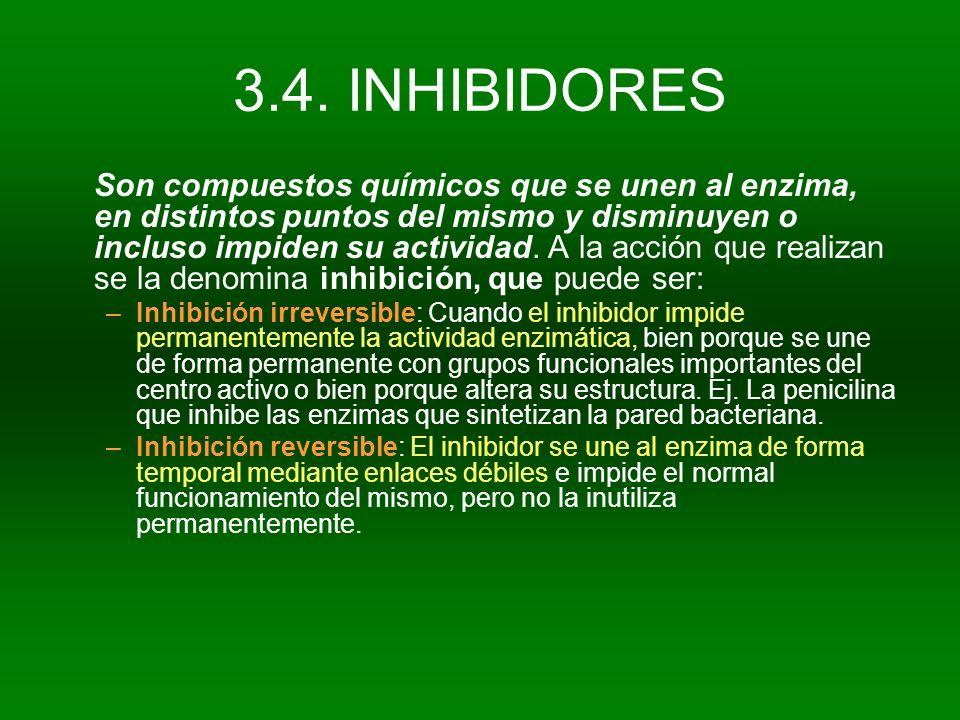 3.4. INHIBIDORES Son compuestos químicos que se unen al enzima, en distintos puntos del mismo y disminuyen o incluso impiden su actividad. A la acción