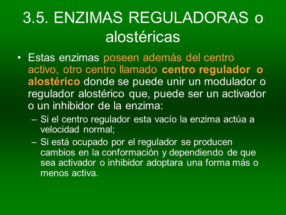 3.5. ENZIMAS REGULADORAS o alostéricas Estas enzimas poseen además del centro activo, otro centro llamado centro regulador o alostérico donde se puede