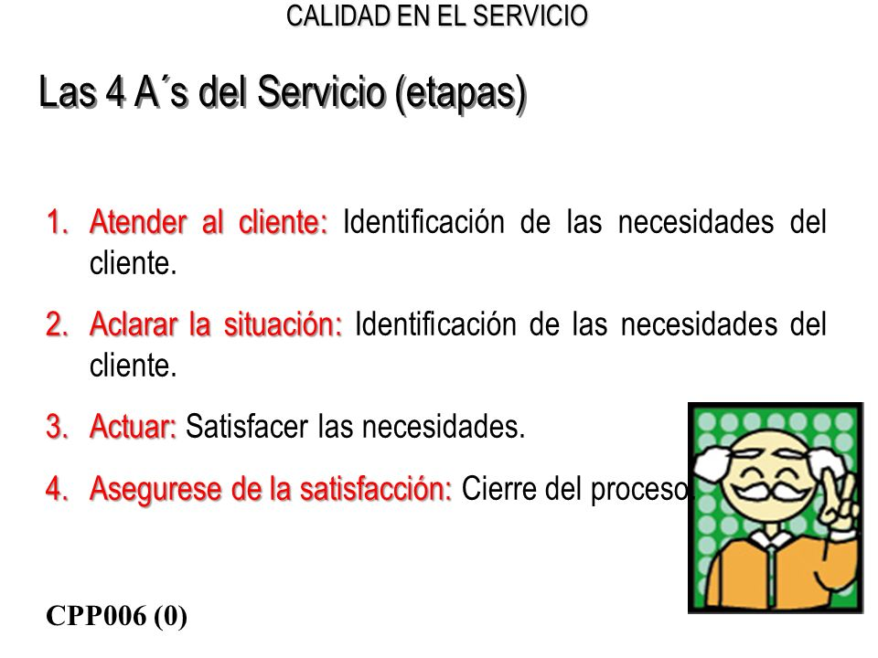 CALIDAD EN EL SERVICIO Las 4 A´s del Servicio (etapas) 1.Atender al cliente: 1.Atender al cliente: Identificación de las necesidades del cliente. 2.Ac