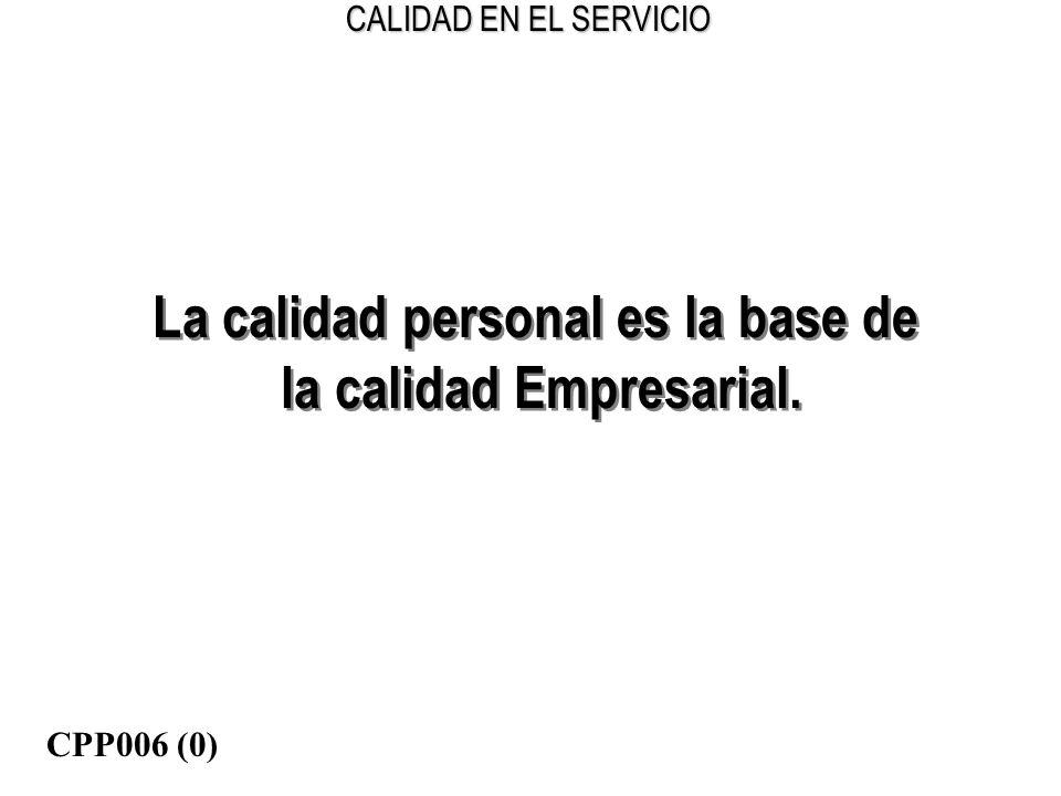 CALIDAD EN EL SERVICIO La calidad personal es la base de la calidad Empresarial. La calidad personal es la base de la calidad Empresarial. CPP006 (0)