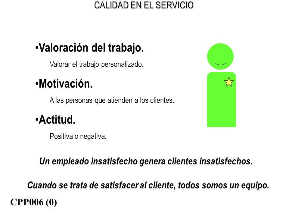 CALIDAD EN EL SERVICIO Un empleado insatisfecho genera clientes insatisfechos. Cuando se trata de satisfacer al cliente, todos somos un equipo. Valora