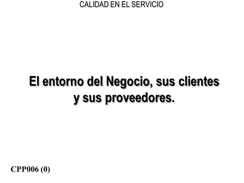 CALIDAD EN EL SERVICIO El entorno del Negocio, sus clientes y sus proveedores. El entorno del Negocio, sus clientes y sus proveedores. CPP006 (0)
