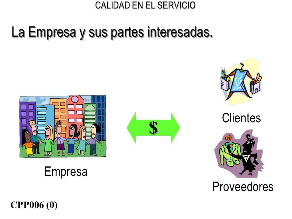 CALIDAD EN EL SERVICIO La Empresa y sus partes interesadas. Empresa $ $ Proveedores Clientes CPP006 (0)