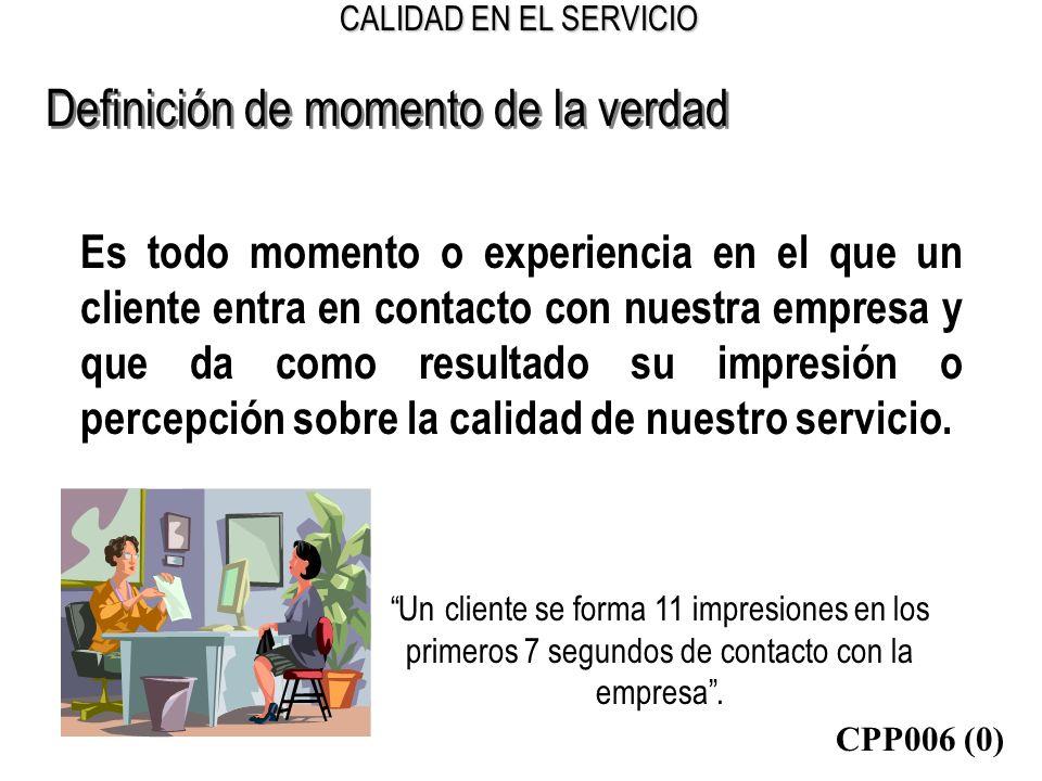 CALIDAD EN EL SERVICIO Definición de momento de la verdad Es todo momento o experiencia en el que un cliente entra en contacto con nuestra empresa y q