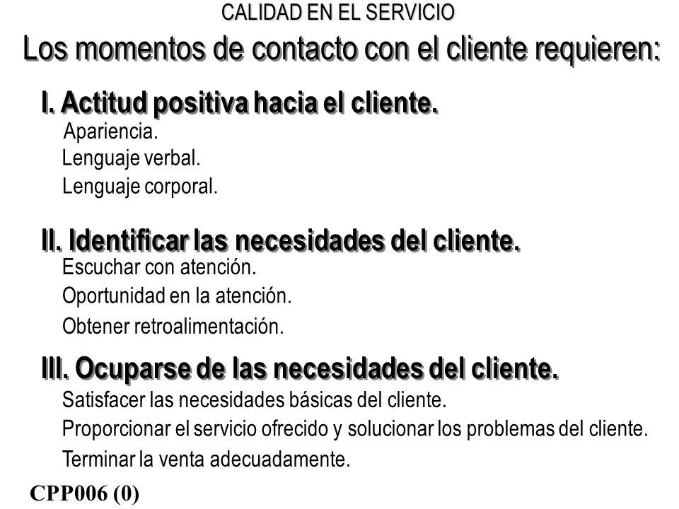 CALIDAD EN EL SERVICIO Los momentos de contacto con el cliente requieren: I. Actitud positiva hacia el cliente. Apariencia. II. Identificar las necesi