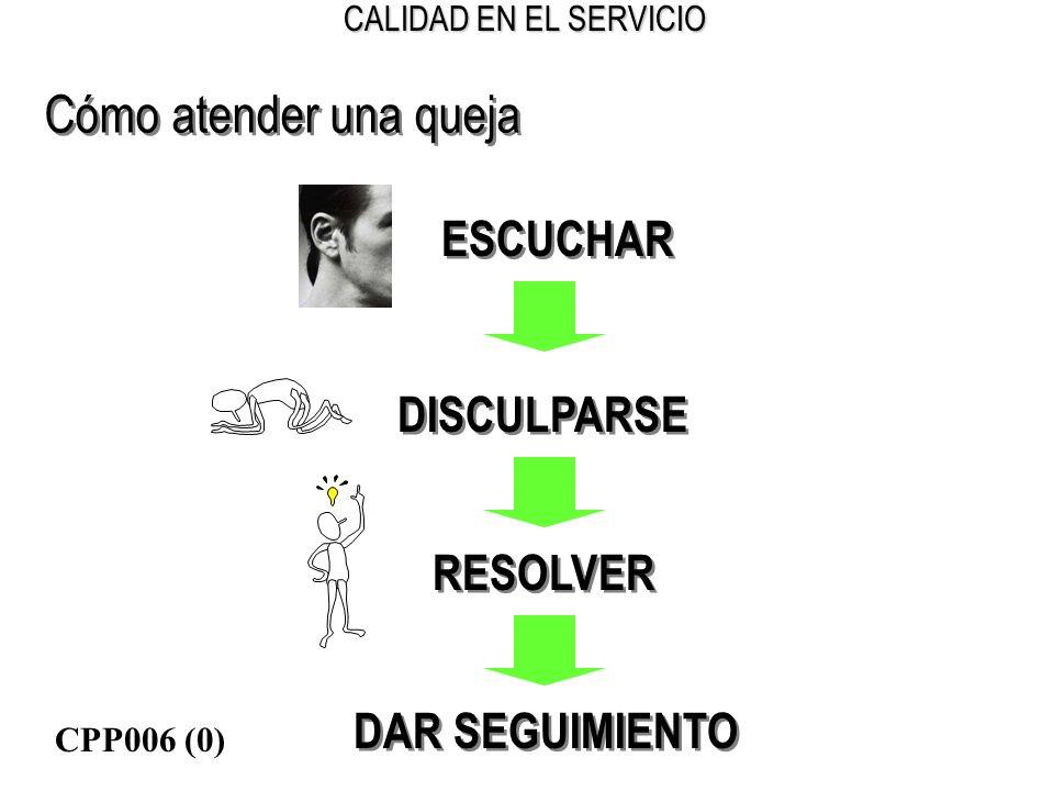 CALIDAD EN EL SERVICIO Cómo atender una queja ESCUCHAR DISCULPARSE RESOLVER DAR SEGUIMIENTO CPP006 (0)
