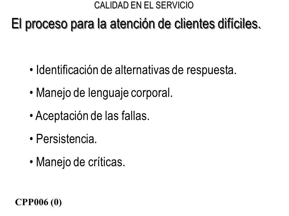 CALIDAD EN EL SERVICIO El proceso para la atención de clientes difíciles. Identificación de alternativas de respuesta. Manejo de lenguaje corporal. Ac