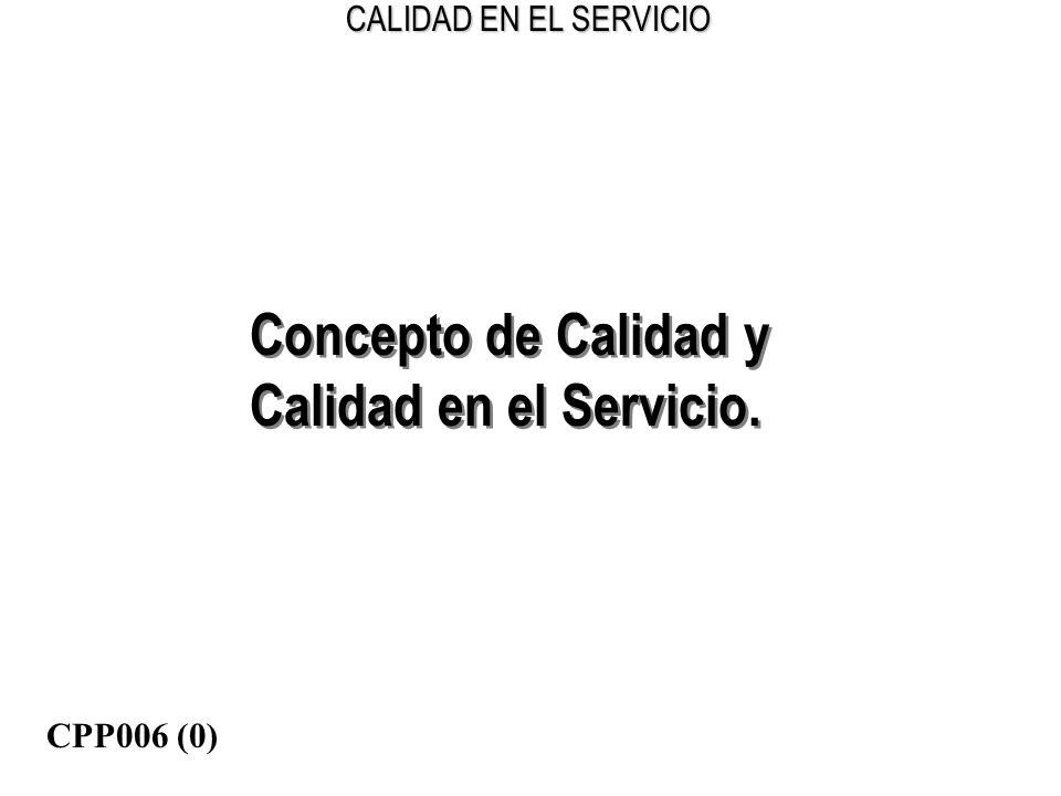CALIDAD EN EL SERVICIO Concepto de Calidad y Calidad en el Servicio. Concepto de Calidad y Calidad en el Servicio. CPP006 (0)