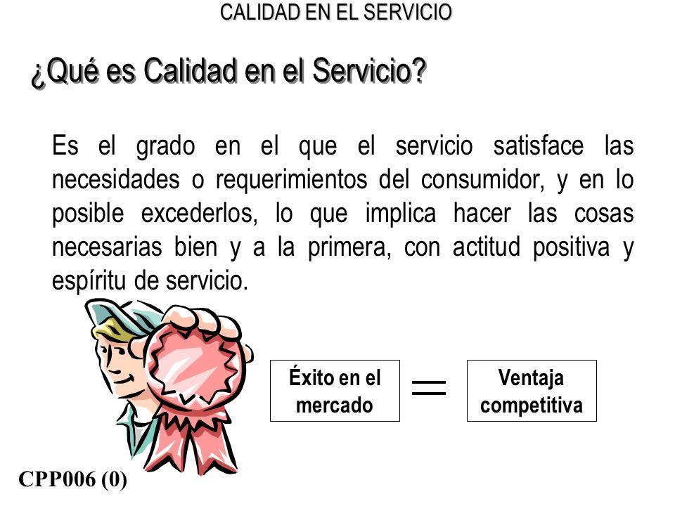 CALIDAD EN EL SERVICIO ¿Qué es Calidad en el Servicio? Es el grado en el que el servicio satisface las necesidades o requerimientos del consumidor, y