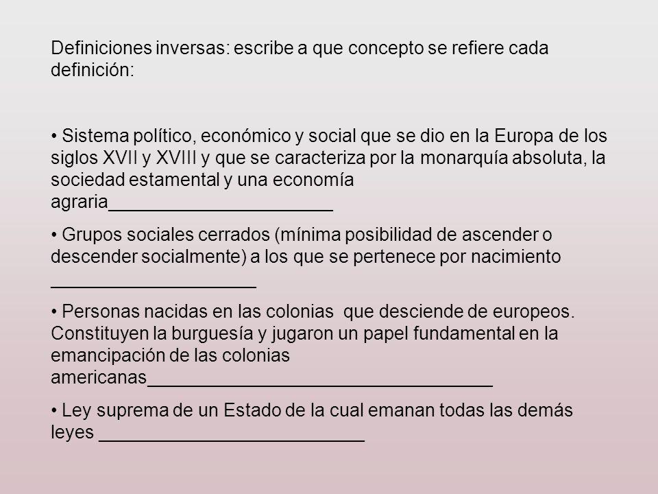 Definiciones inversas: escribe a que concepto se refiere cada definición: Sistema político, económico y social que se dio en la Europa de los siglos X