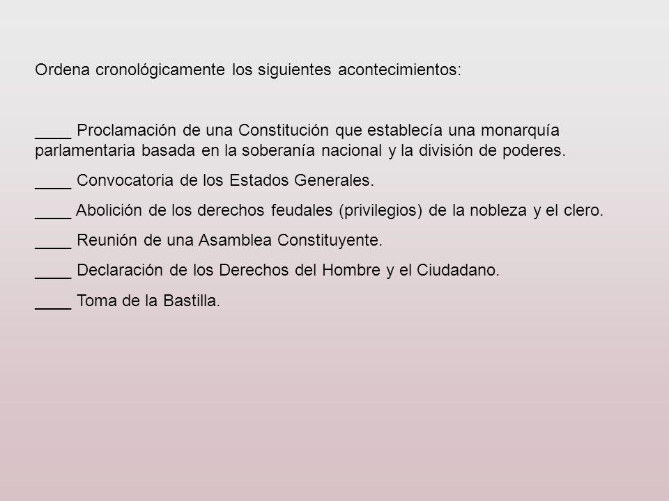 Ordena cronológicamente los siguientes acontecimientos: ____ Proclamación de una Constitución que establecía una monarquía parlamentaria basada en la