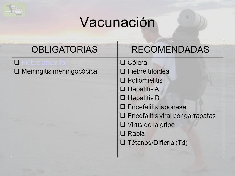 Vacunación OBLIGATORIASRECOMENDADAS Fiebre amarilla Meningitis meningocócica Cólera Fiebre tifoidea Poliomielitis Hepatitis A Hepatitis B Encefalitis