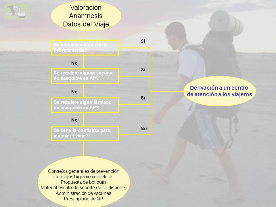 Valoración Anamnesis Datos del Viaje Se requiere vacuna de la fiebre amarilla? Se requiere alguna vacuna no asequible en AP? Se requiere algún fármaco
