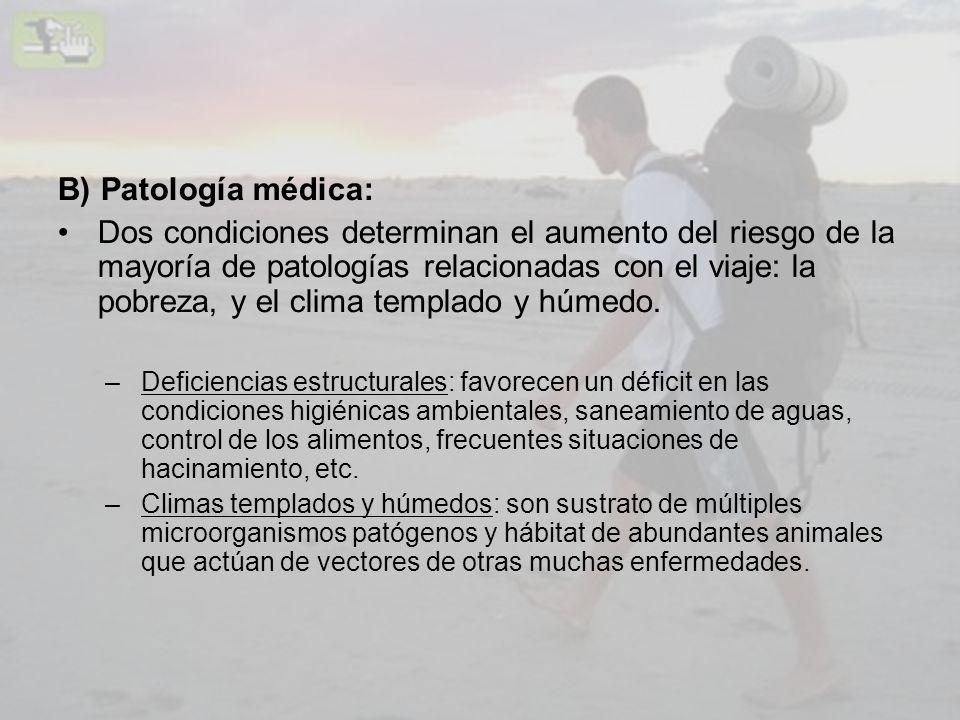 B) Patología médica: Dos condiciones determinan el aumento del riesgo de la mayoría de patologías relacionadas con el viaje: la pobreza, y el clima te