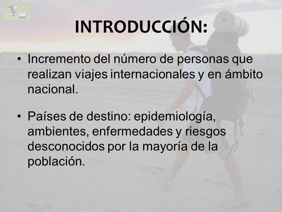INTRODUCCIÓN: Incremento del número de personas que realizan viajes internacionales y en ámbito nacional. Países de destino: epidemiología, ambientes,