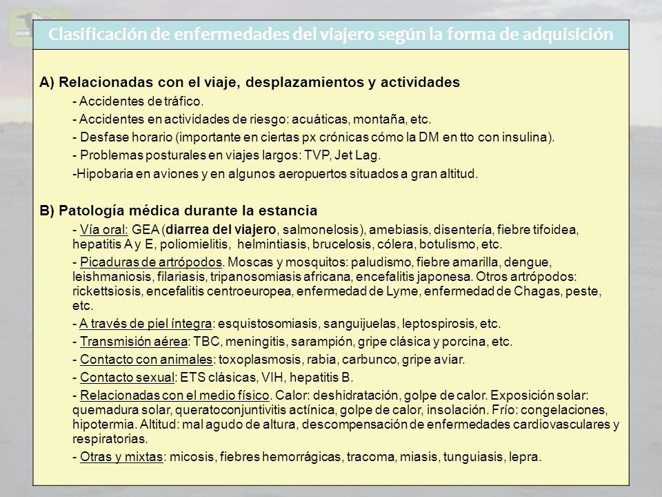 Clasificación de enfermedades del viajero según la forma de adquisición A) Relacionadas con el viaje, desplazamientos y actividades - Accidentes de tr