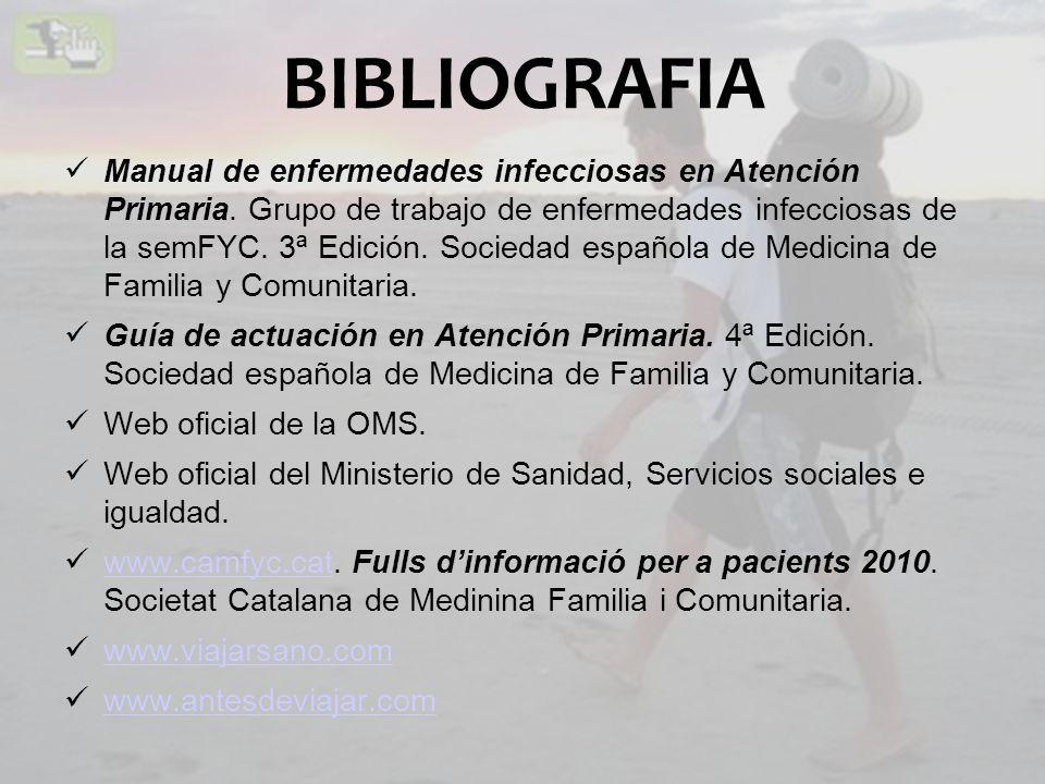 BIBLIOGRAFIA Manual de enfermedades infecciosas en Atención Primaria. Grupo de trabajo de enfermedades infecciosas de la semFYC. 3ª Edición. Sociedad