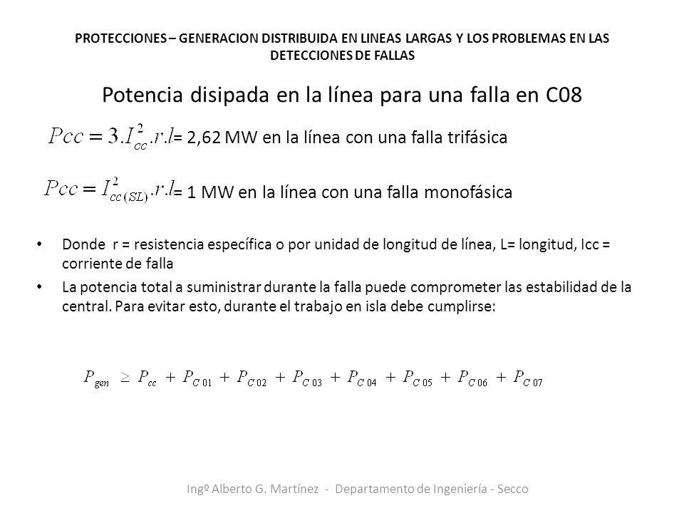 Potencia disipada en la línea para una falla en C08 = 2,62 MW en la línea con una falla trifásica = 1 MW en la línea con una falla monofásica Donde r