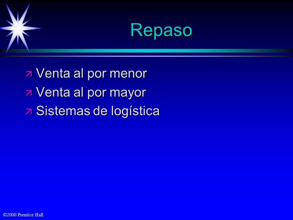 ©2000 Prentice Hall RepasoRepaso ä Venta al por menor ä Venta al por mayor ä Sistemas de logística
