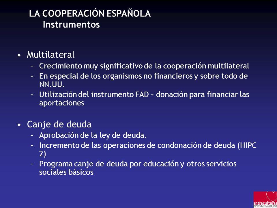 LA COOPERACIÓN ESPAÑOLA Instrumentos Multilateral –Crecimiento muy significativo de la cooperación multilateral –En especial de los organismos no fina
